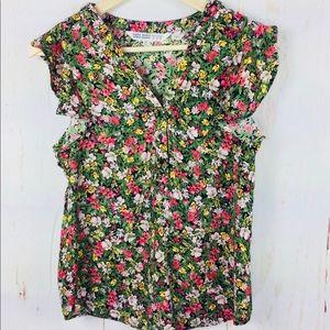 Zara floral ruffle sleeve blouse top